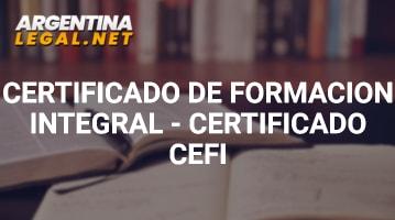 Certificado De Formación Integral – Certificado Cefi