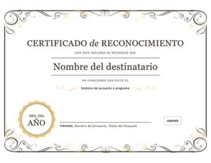 Certificado de Reconocimiento Ejemplo