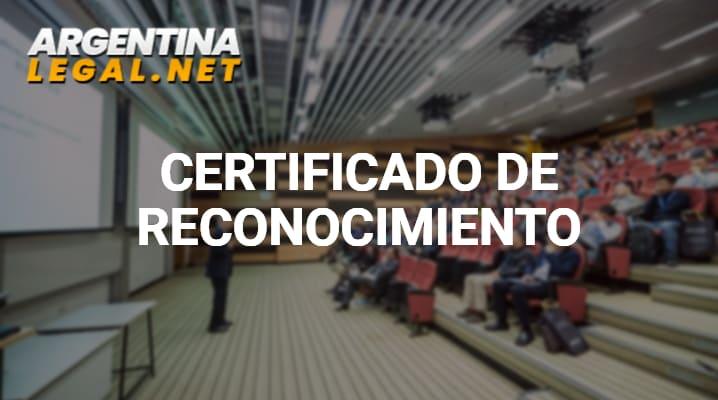 Certificado de reconocimiento