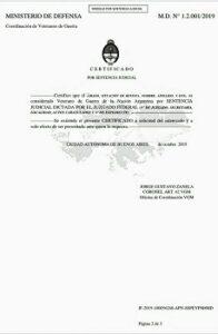 Modelo de Certificado de veterano de guerra de Malvinas
