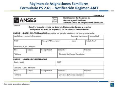asignación familiar Forma PS.2.61