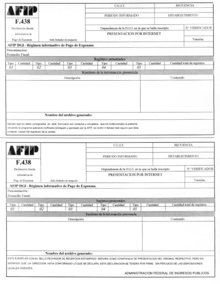 formulario FR 01 afip