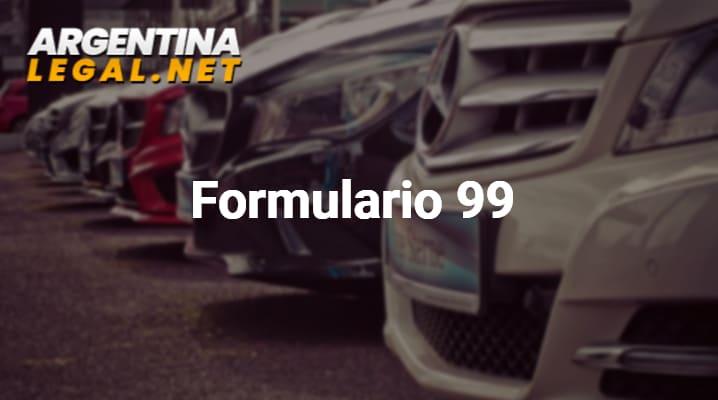 Formulario 99 Para Solicitar Un Informe De Dominio Del Automotor Con Carácter Urgente