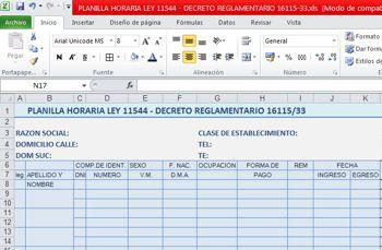 Rubrica De Planilla Horaria Ley 11544